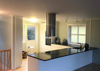 takhengt ventilator, hvitt kjøkken og sort plate